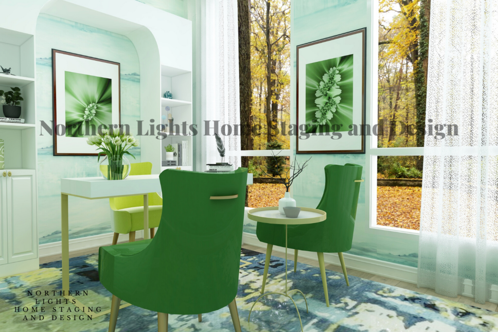 Purchase this high resolution virtual office background for Zoom by Northern Lights Home Staging and Design