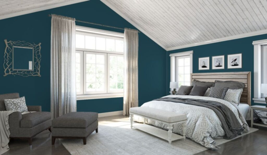 Sherwin Williams Moscow MIdnight on the walls of this bedroom from the Sherwin Williams color visualizer.