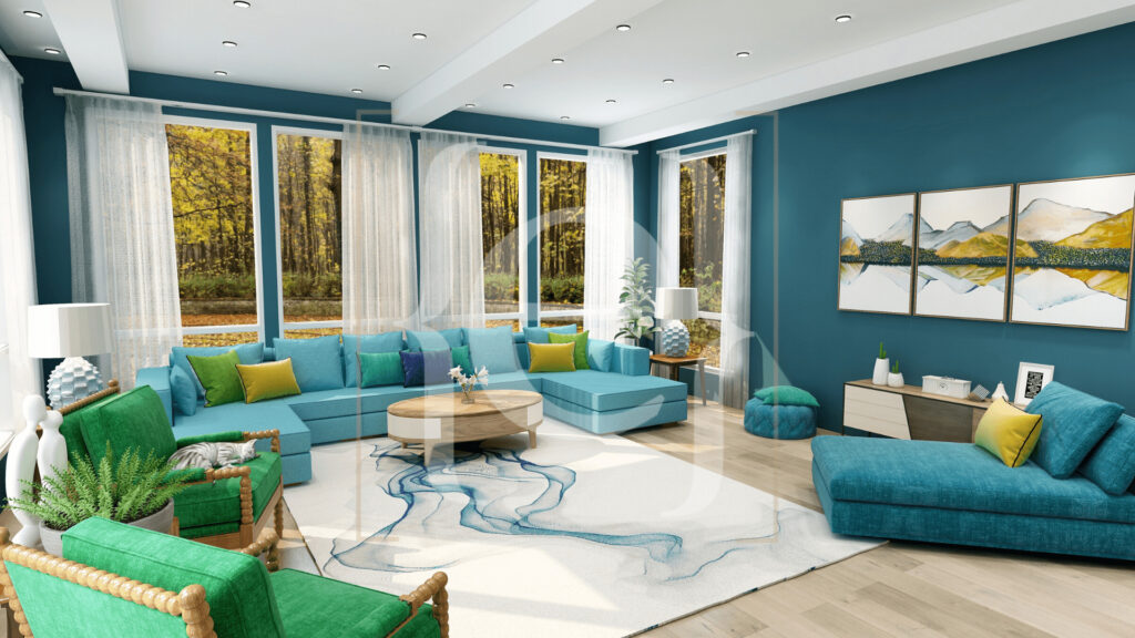 Modern Global Forest living room Zoom virtual background by Northern Lights Home Staging and Design