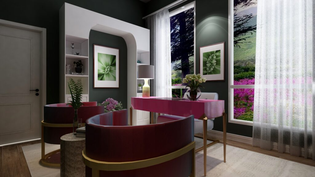 For example, in this office design, the focal point is the desk area. The focal point is a combination of the hot pink desk and unique green fractal art on the wall behind, creating an area with drama that harmonizes with the dramatic outdoor view and colors. The focal point draws you into the room but also extends your focus outdoors at the same time.