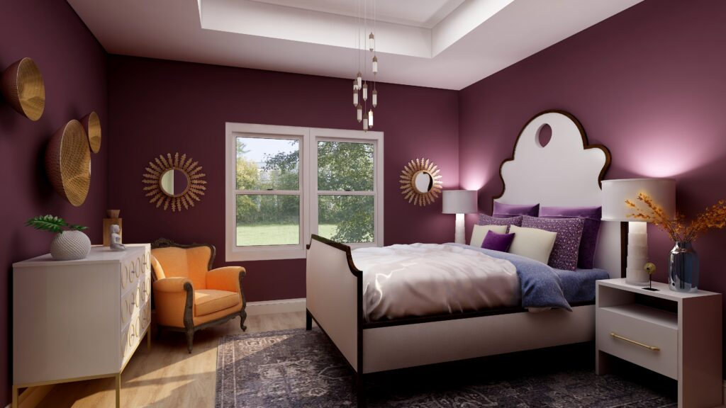Master bedroom Edesign using Behr Euphoric Magenta by Northern Lights Home Staging and Design