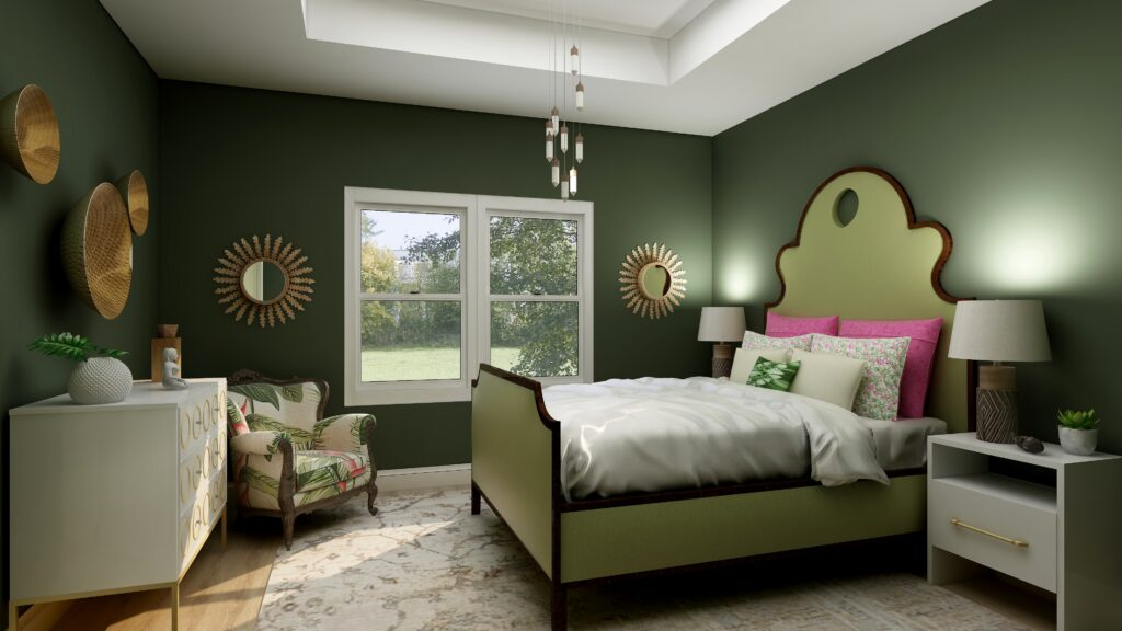 Master bedroom Edesign using Behr Royal Orchard by Northern Lights Home Staging and Design