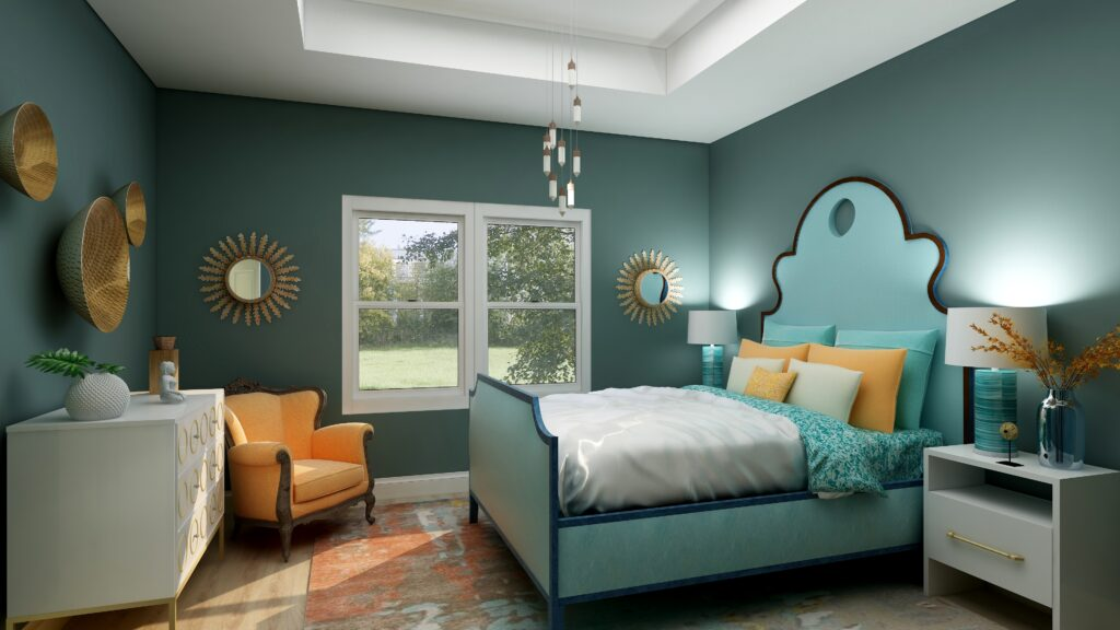 Master bedroom Edesign using Behr Voyage by Northern Lights Home Staging and Design