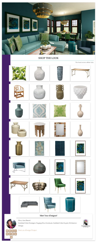Get the Look-Bohemian Style Living Room. Edesign by Northern Lights Home Staging and Design