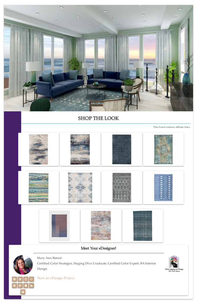 Blue and green global style rugs.