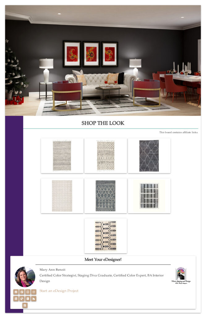 Black, white and gray global style rugs
