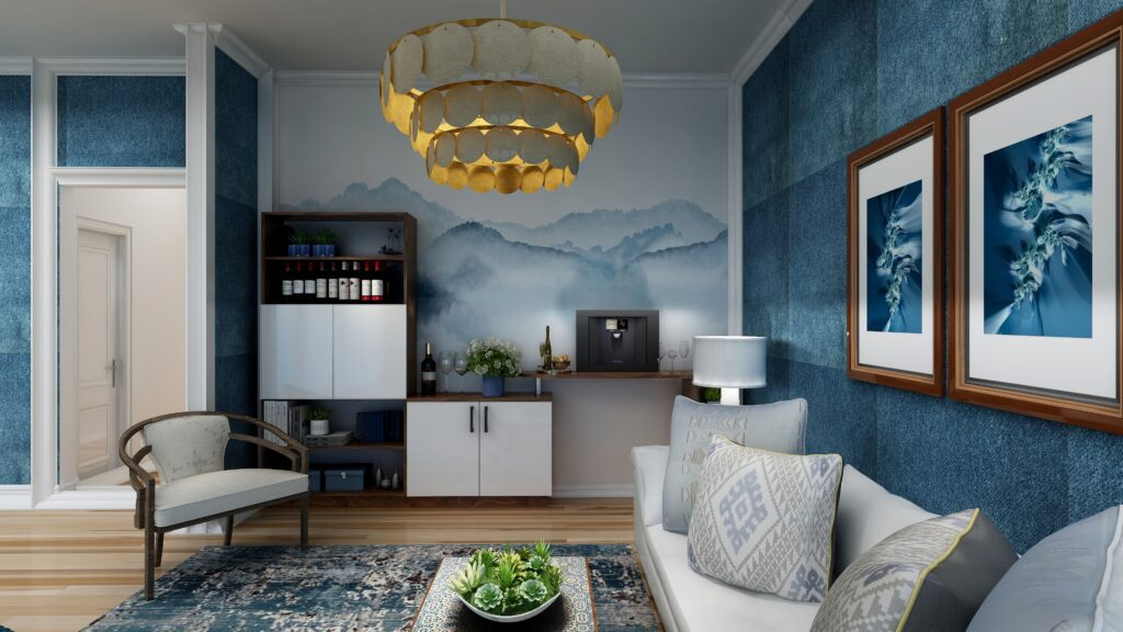 Create a mini bar in your living room for a perfect space to unwind