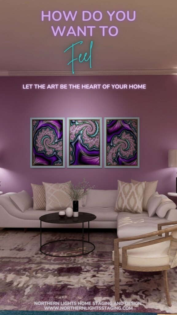 """Let the Art be the Heart of Your Home. """"A Passion for Purple"""" fractal art by Mary Ann Benoit in an Edesign by Northern Lights Home Staging and Design"""
