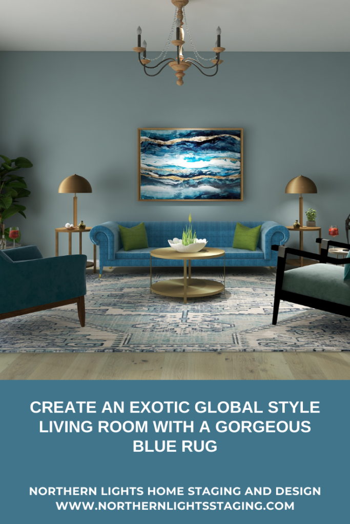 Create an exotic global style living room with a gorgeous blue rug